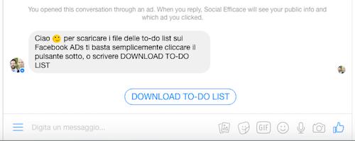 lead gen bot fb ads - esempio messaggio automatico