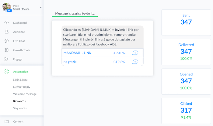lead gen bot fb ads - manychat messaggio stats