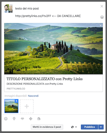 modifica anteprima link share - prettylinks post esempio