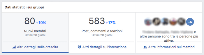 insights gruppo fb - menu principale