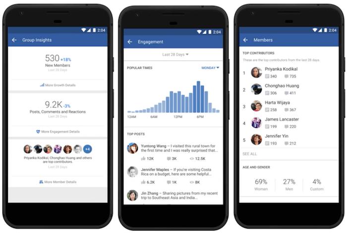 insights gruppo fb - versione mobile