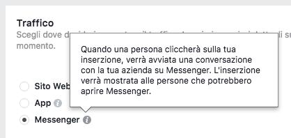 campagna obiettivo traffico destinazione Messenger
