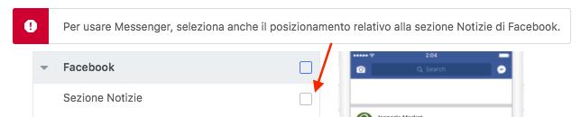 errore posizionamento messenger home sezione notizie facebook