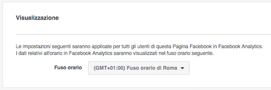 facebook analytics - fuso orario