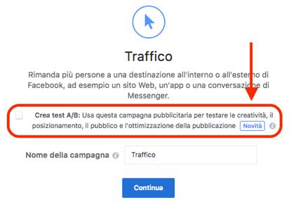 funzione crea test ab campagna facebook
