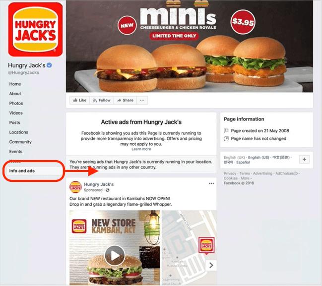 info e inserzioni pagina fb home menu