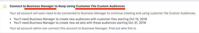 avviso business manager obbligatorio per pubblici da email