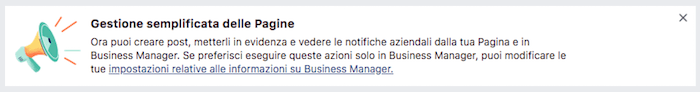 avviso gestione semplificata pagine fb tramite business manager