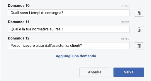 domande frequenti personalizzate per messenger nella pagina fb