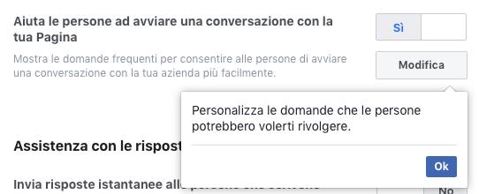 imposta domande frequenti per messenger nella pagina fb
