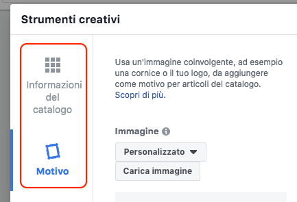 overlay info catalogo cornici motivi