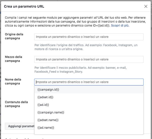 pannello crea parametro url builder facebook
