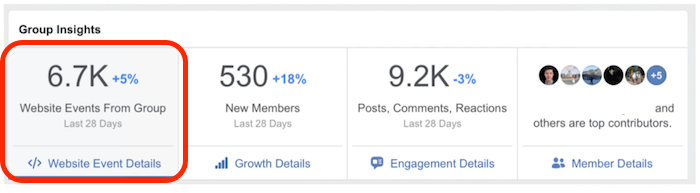 statistiche del gruppo facebook legate al sito web e pixel