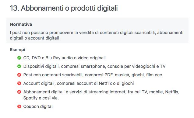 regola che vieta vendita abbonamenti e prodotti digitali