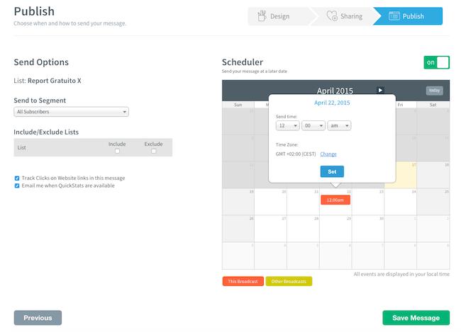 21 aweber creazione email broadcast calendario programmazione