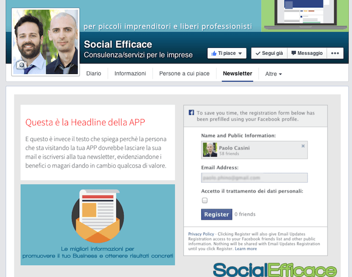 SHORTSTACK: creare APP per Pagina Facebook - installata