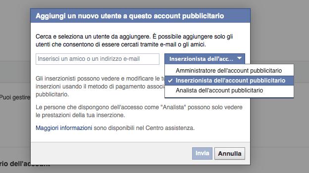 Account Inserzionista - finestra aggiunta gestori e inserzionisti