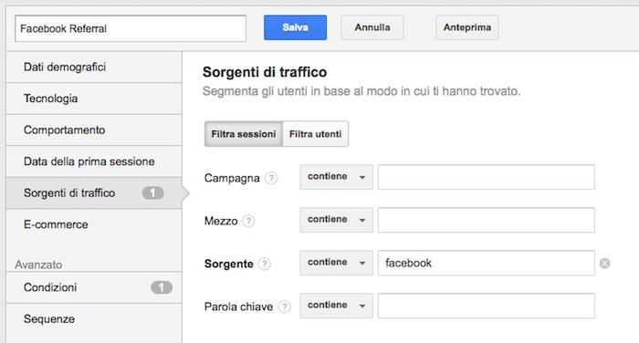 Google Anlytics traffico Facebook - impostazione segmento
