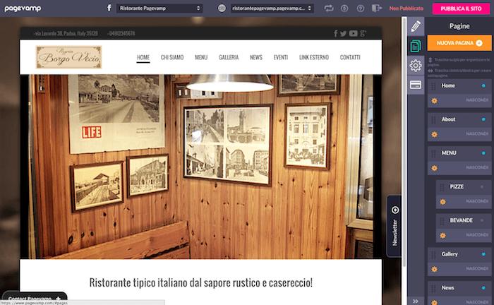 Pagevamp - schermata impostazioni sito web 02