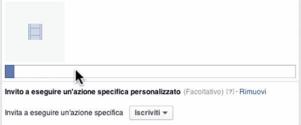 caricare video facebook upload file in corso