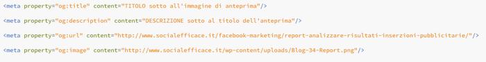 condividere link immagine testo descrizione predefiniti - codice html impostazioni