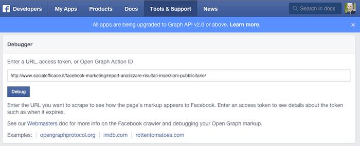 condividere link immagine testo descrizione predefiniti - facebook debugger