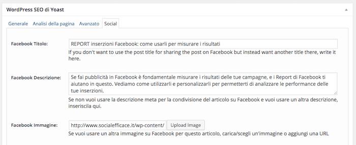 condividere link immagine testo descrizione predefiniti - plugin impostazioni