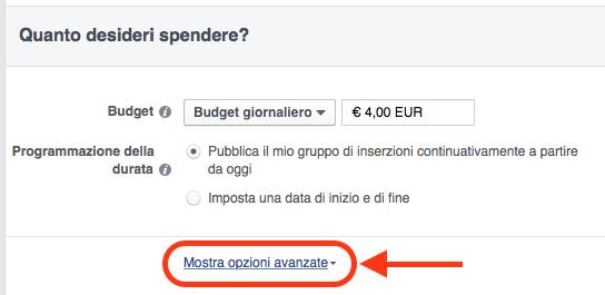 costo pubblicità facebook - tool creazione inserzioni 01