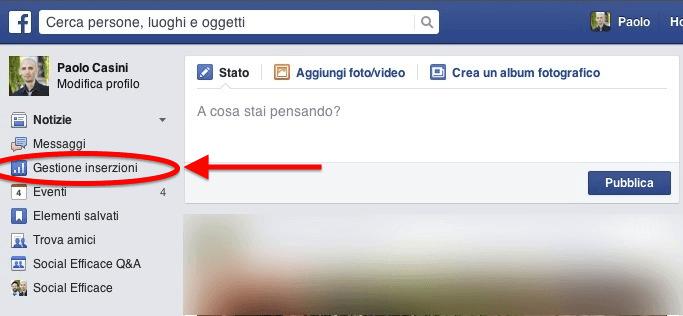home facebook gestione inserzioni