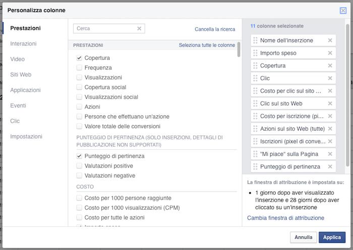 report inserzioni facebook - personalizza colonne