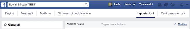 impostazione della visibilità di una Pagina Facebook non pubblicata